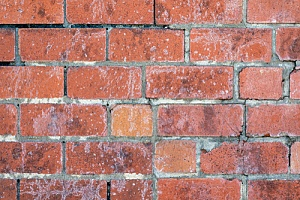 Discoloration in brick wall