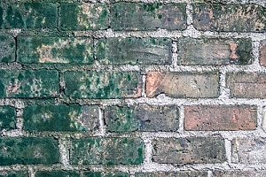 Wall with green brick stain