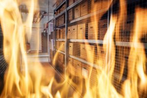 fire caulking blocks breaches in a commercial building