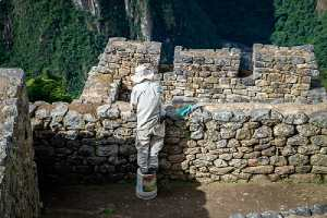 A worker restores masonry wall of ancient Inca city
