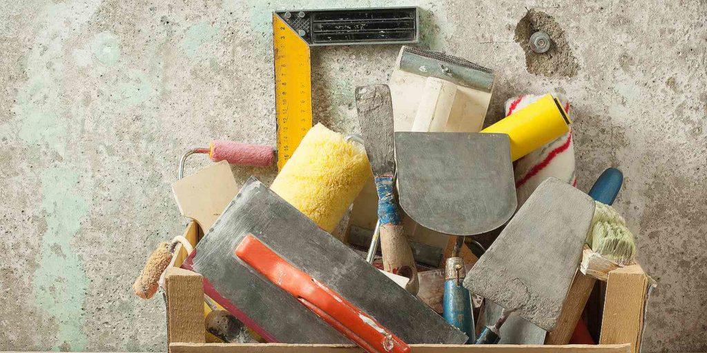 Masonry restoration tools in a wooden box