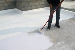 waterproofing house while painting on the ground