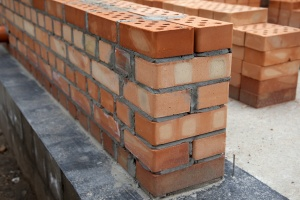 a masonry repair job just being finished