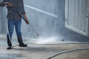 cleaning with Commercial Pressure Washing jet