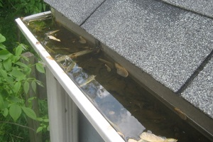 clogged gutters before pressure washing services