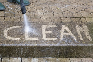 outdoor floor cleaning with Commercial Pressure Washing jet